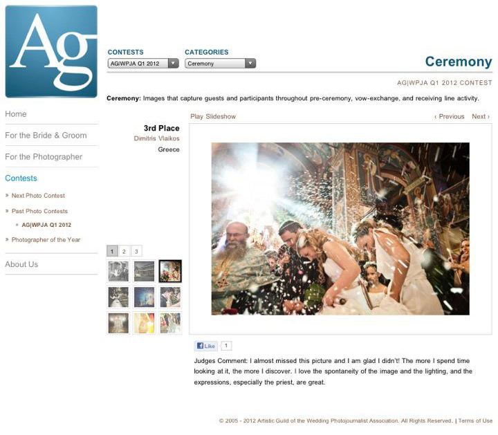 3d Place in AGWPJA Wedding Photography Competition